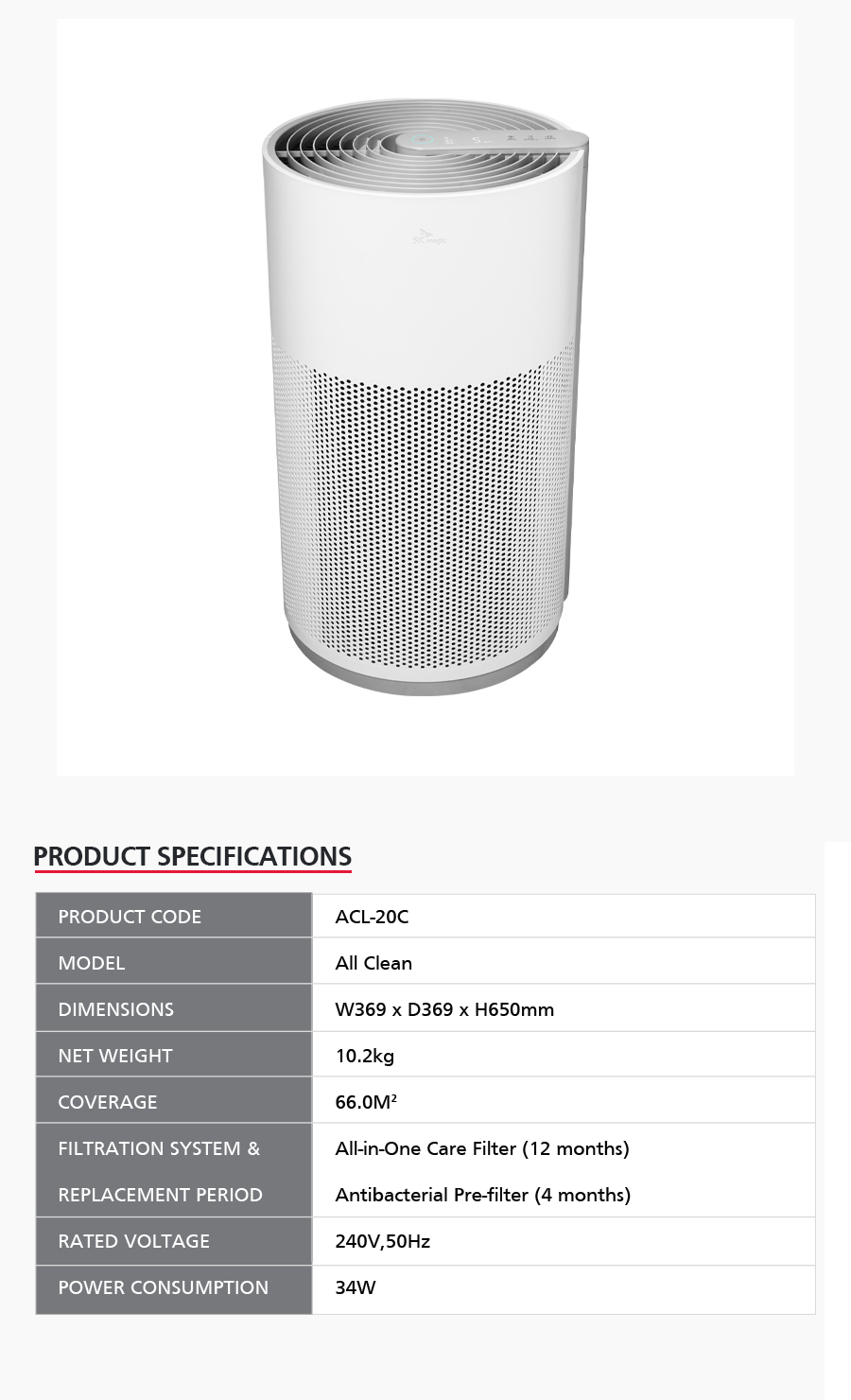 Product Specifications SK magic All Clean Air Purifier ACL-20C All-in-One Care Filter (12 months) Antibacterial Pre-filter (4 months)