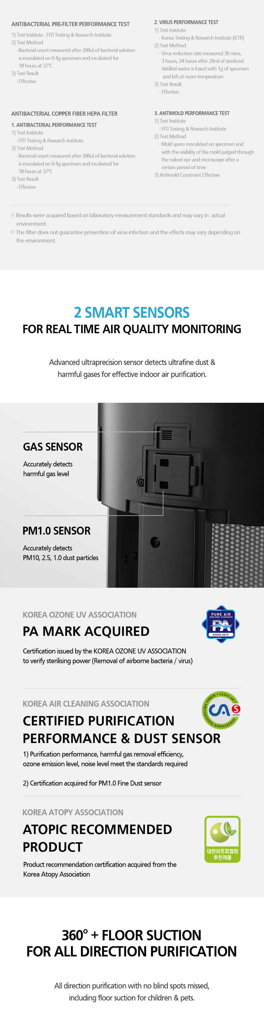 2 SMART SENSORS FOR REAL TIME AIR QUALITY MONITORING Advanced ultraprecision sensor detects ultrafine dust & harmful gases for effective indoor air purification.
