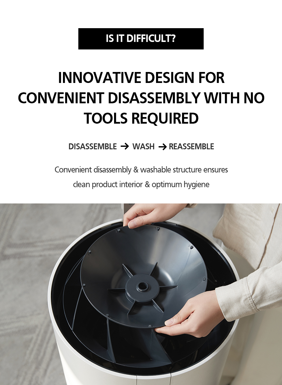 INNOVATIVE DESIGN FOR CONVENIENT DIASSEMBLY WITH NO TOOLS REQUIRED DISSAMBLE  WASH  REASSEMBLE Convenient disassembly & washable structure ensures clean product interior & optimum hygiene